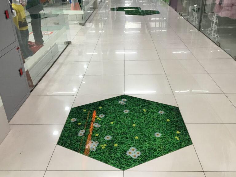 Вставки на полу в ТЦ